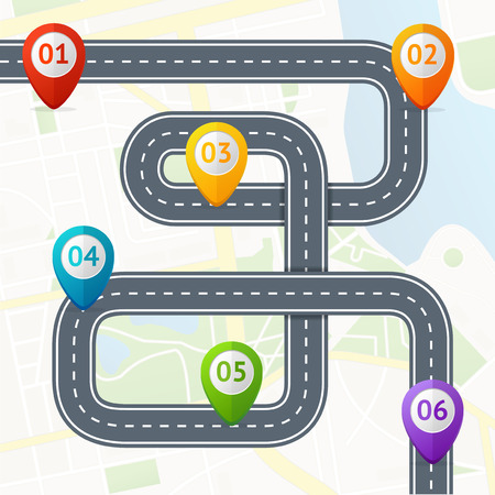 Road Infographic with Location Mark Elements. Vector