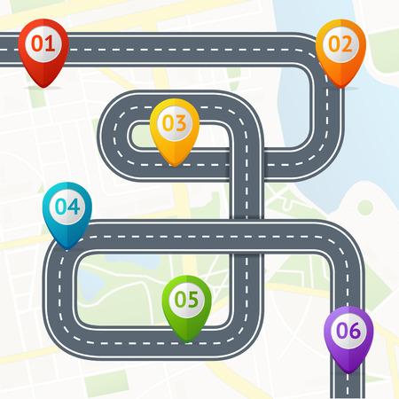 Road Infographic met Location Mark Elements. Vector