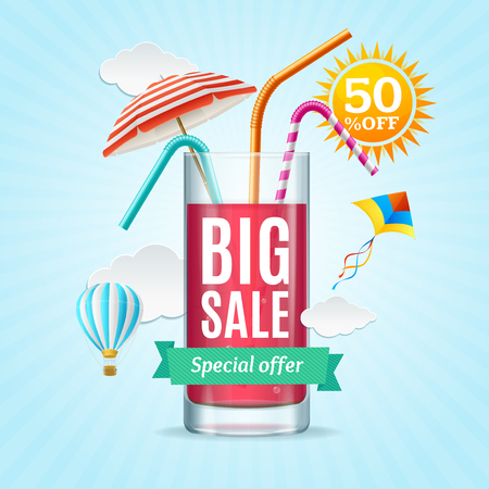 Big Sale Summer Concept Banner Card or Poster. Vector