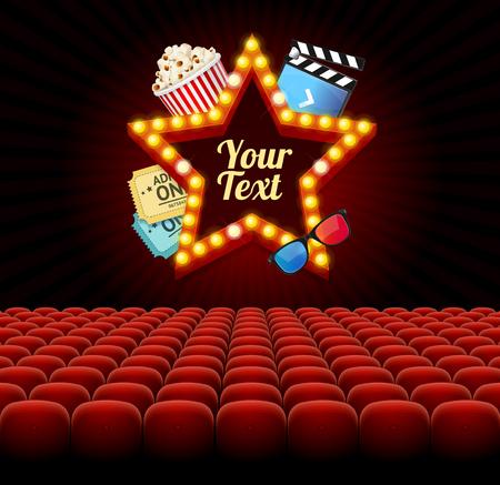 Cinema Movie Retro Concept with Seats Rows. Vector Illustration