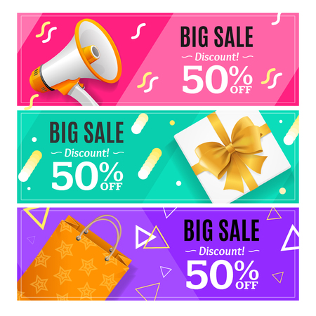 Big Sale Banner Card Horizontal Set. Vector  イラスト・ベクター素材