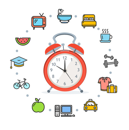 Daily Routines Concept Healthy Life. Vector