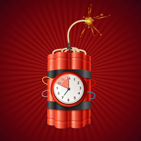 Detonate Dynamite Bomb and Timer Clock. Vector
