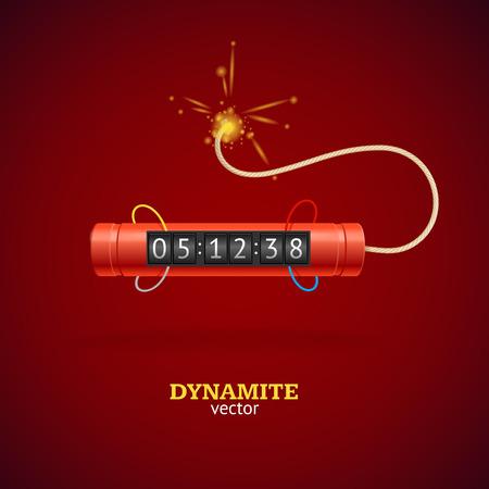 detonate: Detonate Dynamite Bomb and Timer Clock. Vector