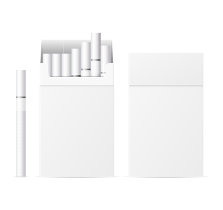 baccy: Realistic Template Blank White Cigarette Pack. Vector