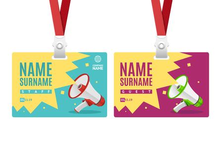 Id Card Template Plastic Badge. Vector