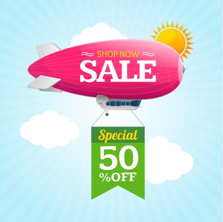 super market: Sale Concept Labels with Airship. Vector Illustration