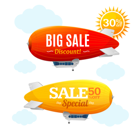 Sale Concept Labels with Airship. Vector Illustration