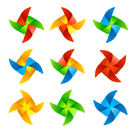wind mill toy: Colorful Wind Mill Set. Vector