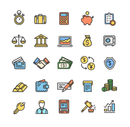 Banking and Accounting Icon Color Thin Line Set. Vector