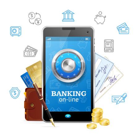 Banking Online Concept Mobile Phone App. Vector