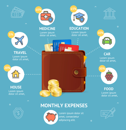 Monthly Expenses Concept with Wallet. Vector