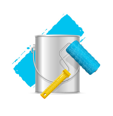 paint container: Realistic Blue Roller Brush and Can. Vector