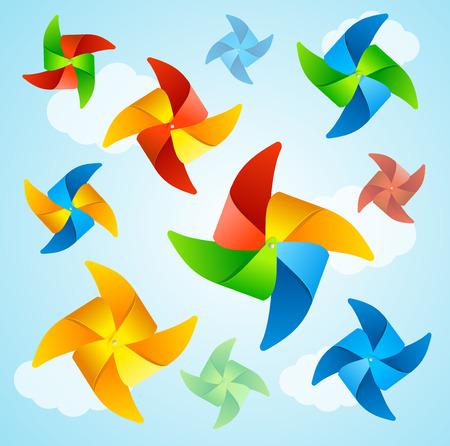 pinwheel toy: Wind Mill Hello Summer Background. Vector Illustration