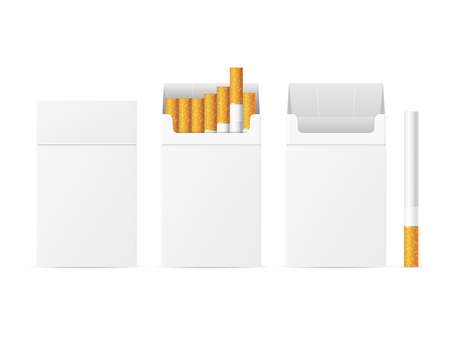 Realistic Template Blank White Cigarette Pack. Vector