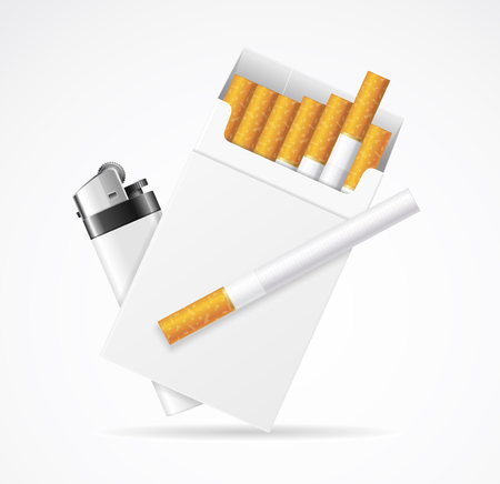 Realistic Template Blank White Cigarette Pack with Pocket Lighter. Vector