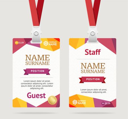 Id Card Template Plastic Badge. Vector Ilustração Vetorial