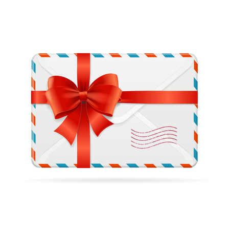Mail or Delivery with Bow Ribbon. Vector Illustration