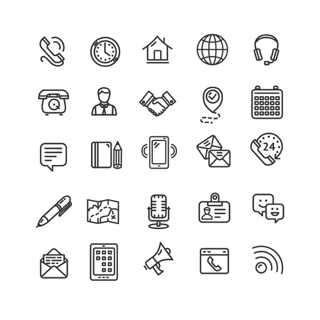 Contact Us Icon Black Thin Line Set. Vector