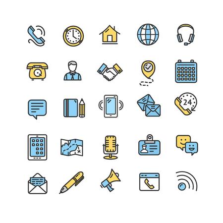 Contattaci Icon Set di linea sottile colore. Vettore
