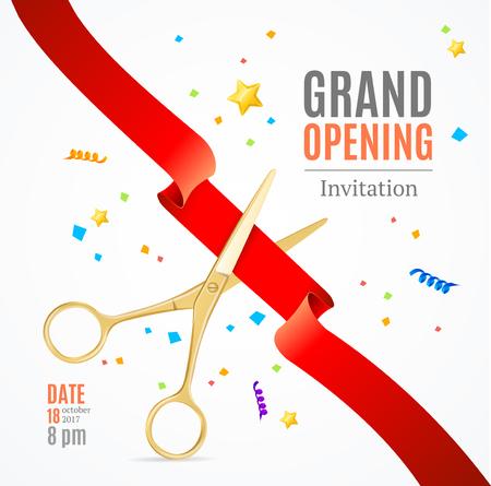 Grand Opening Invitation Card. Vector Illusztráció