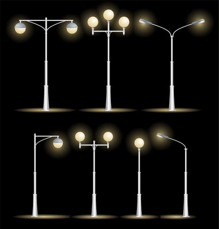 streetlight: Lanterns Street Set Night . Vector