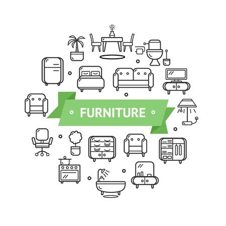 Furniture Round Design Template Thin Line Icon Concept. Vector