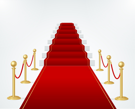 prestige: Red Event Carpet, Stair and Gold Rope Barrier. Vector