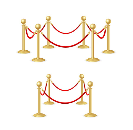 Gold Rope Barrier Constructor Set. Vector Illustration
