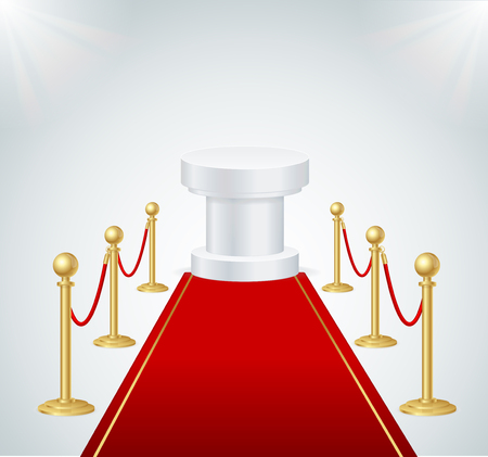 Red Event Carpet, Round Podium and Gold Rope Barrier. Vector
