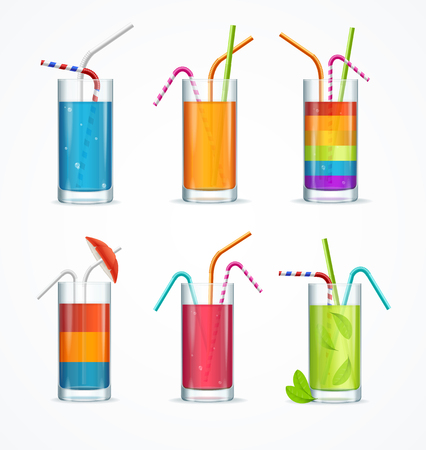 cocktail drink: Realistic Cocktail Glass Template Drink Set. Vector