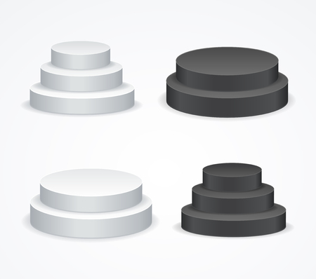 award winning: Realistic Template Blank White and Black Podium Set. Vector