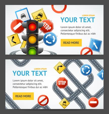 도로 표지판 운전 학교 전단지 배너 포스터 카드 가로 설정 교육 운전 규칙. 벡터 일러스트 레이 션
