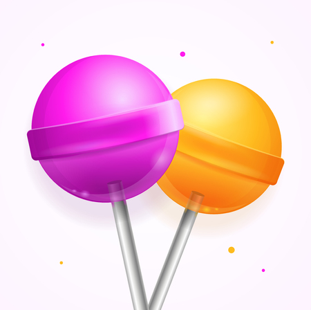 Realistic Round Sweet Candy Lollipops Set. Vector