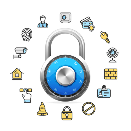 Data Security Concept and Blue Combination Padlock. Vector