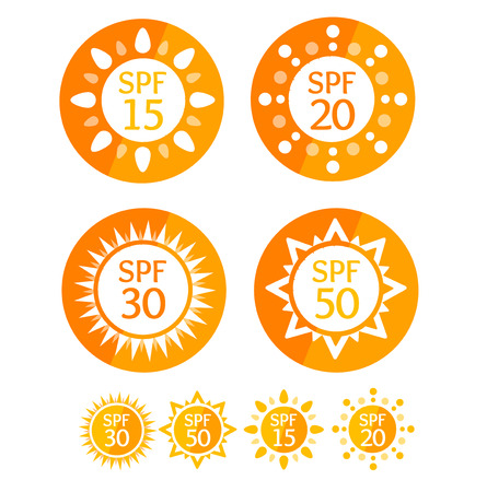 Sun Cream Round Orange Labels Spf Set. Vector Illustration