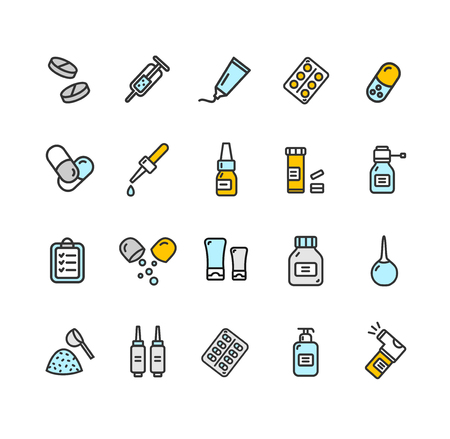 Pills Related Medical Color Thin Line Icon Set. Vector