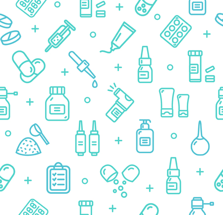 Pills Related Medical Pattern Background. Vector Stock Photo
