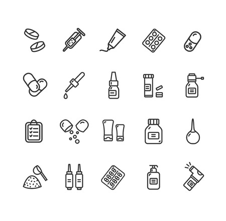 dosage: Pills Related Medical Black Thin Line Icon Set. Vector