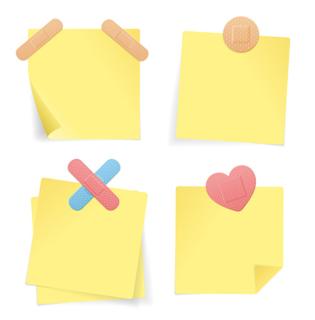 Yellow Stick Note Paper Set. Vector