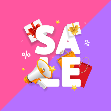 Sale Concept Card Seasonal Discounts. Vector Illustration