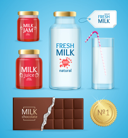 Realistic Product with Milk. Vector