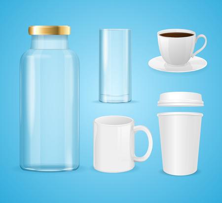 Realistische beker, blik en flessen set voor vloeibare dranken. Vector