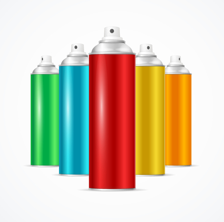 Realistic Aluminium Colorful Spray Can Set. Vector