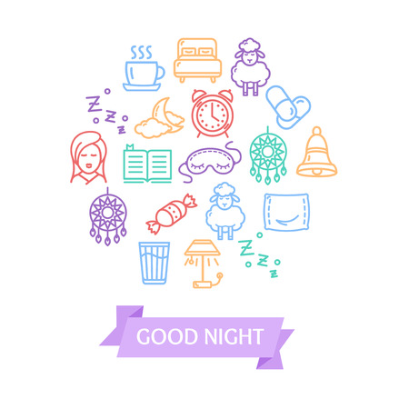 Sleeping and Insomnia Color Round Design Template Line Icon Concept. Vector Illustration