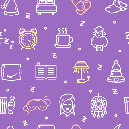 snore: Sleeping and Insomnia Pattern Background Concept. Vector