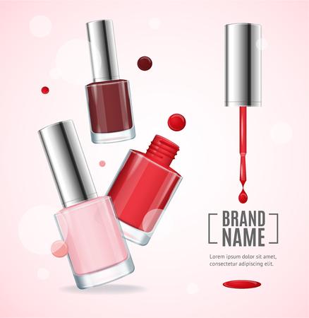 Wektor połysk czerwony Kolorowe lakier do paznokci reklamy, 3d ilustracji