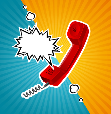 answering: Vector Retro Red Phone Tube in Comic Style With Bubble for Text. Illustration