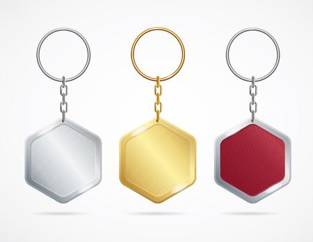 Realistic Metal and Plastic Keychains Set Rhombus. Vector