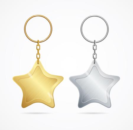 Los llaveros metálicos realistas de la plantilla fijaron la forma de estrella de oro y de plata. Ilustración vectorial de llavero de la diversión